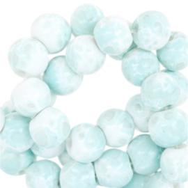 Glaskralen gemêleerd white-aqua blue 6mm