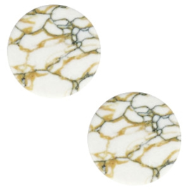 Cabochon stone look 12mm white-brown black