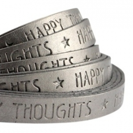 Plat imitatieleer metallic silver grey 'happy thoughts'
