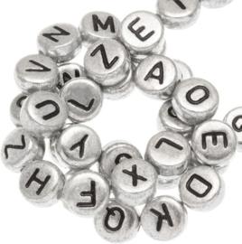 Letterkralen van acryl alfabet Zilver-zwart