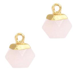 Natuursteen hangers hexagon Icy pink-gold