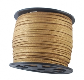 Suede cord shine gold/brown 3mm