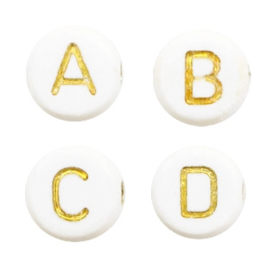 Letterkralen van acryl mix Wit-goud