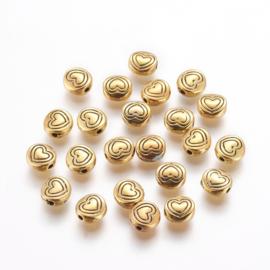 Kraal metaal heart 6x3mm goud