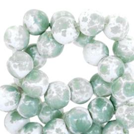 Glaskralen gemêleerd white-pastel green 6mm