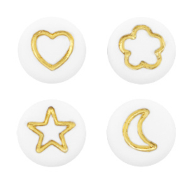Letterkralen van acryl figuren mix White-gold