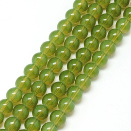 Glaskraal imi opalite olive drap 6mm