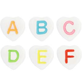 Letterkralen van acryl hartjes mix White-multicolour