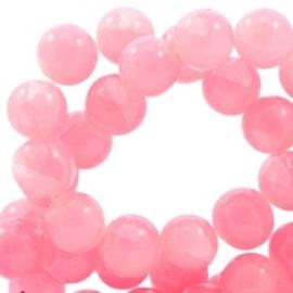 Glaskraal crackled opal rose pink 6mm