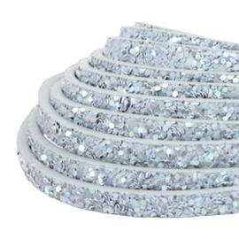 Plat 5 mm imi leer met glitters Light blue