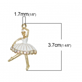 Bedel ballerina enamel rhinestone white goud