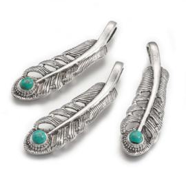 Bedel veer turquoise zilver