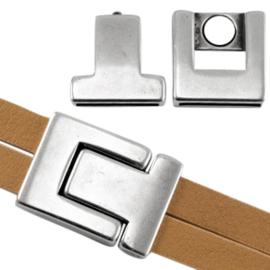 Magneetslot antiek zilver (nikkelvrij) (DQ)
