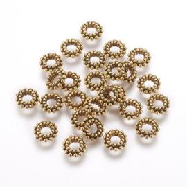 Kraal metaal donut 8x3mm goud