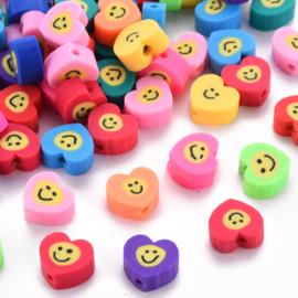 Polymeer kralen smiley hart mix