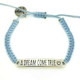 Armbandje ''a dream come true'' - helder blauw & zilver