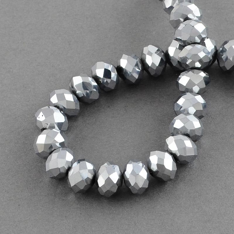 Glaskraal facet 6x4mm zilver
