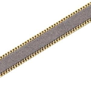 Imitatie suède met schakelketting goud-grijs 10mm