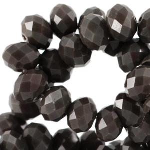 Glaskraal facet dark olivo brown 8x6mm