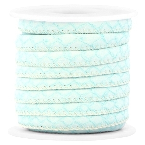 Imi leder reptile light turquoise blue 6x4mm