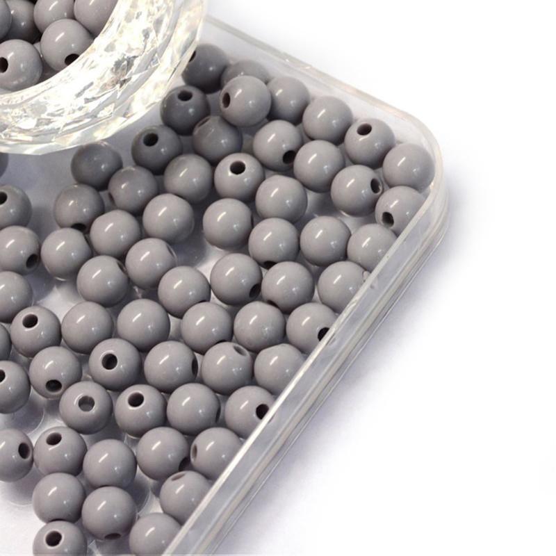 Acryl kraal grey 6mm