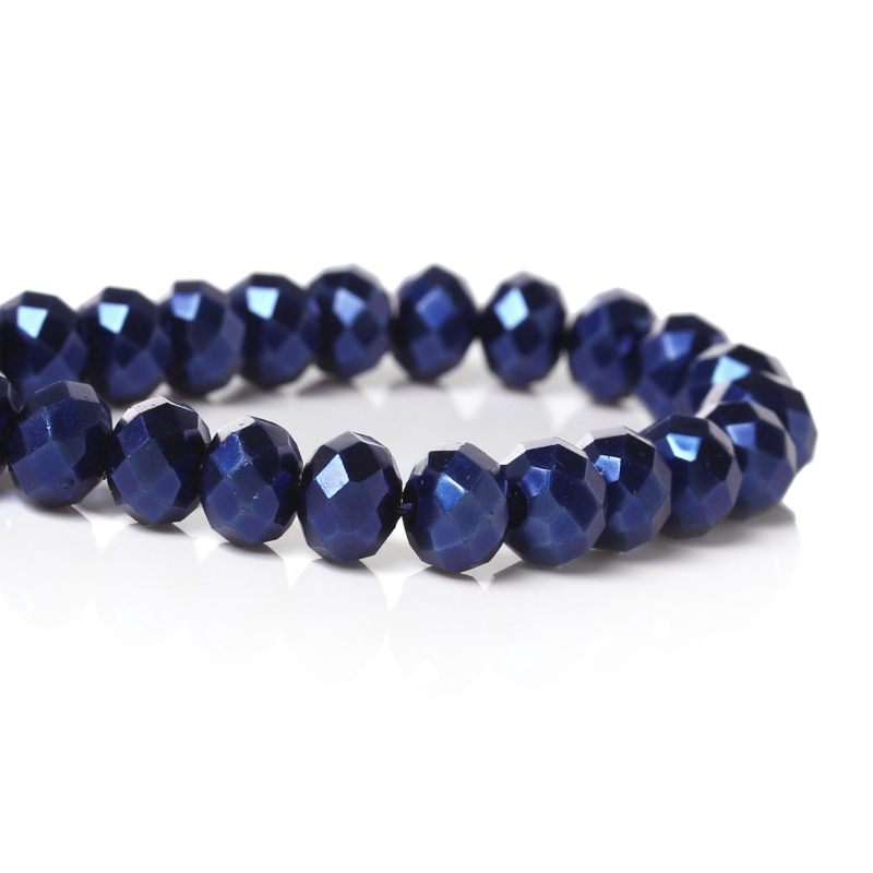 Glaskraal 'pearl' facet deep blue 8x6mm
