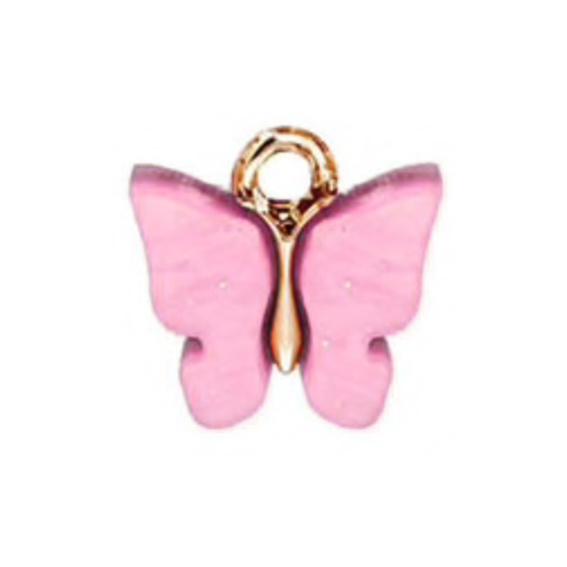 Bedel vlinder pink goud