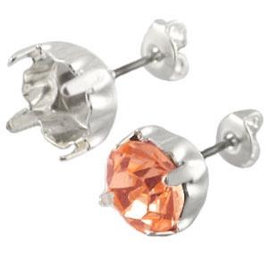 DQ oorstekers voor puntsteen ss 39 Silver plated