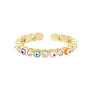 Musthave ring enamel boze oog Multicolour-gold