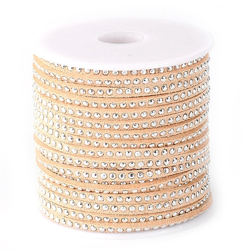 Imitation suede cord beige silver 3mm