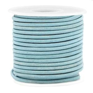 Leer rond 2 mm haze blue - vintage finish (DQ)