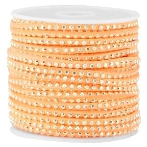 Suède imi strass goud bright coral 3mm