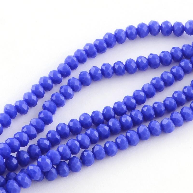 Glasperlen facette royal blue 6x4mm