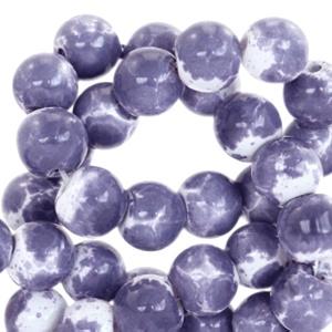 Glaskralen gemêleerd white-lavender blue 6mm
