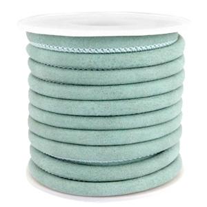 Gestikt leer imi 5x4mm Antique turquoise mint blue