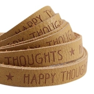 Plat imitatieleer mustard brown 'happy thoughts'