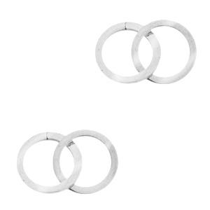 Roestvrij stalen (RVS) Stainless steel bedels/tussenstuk double circle Zilver
