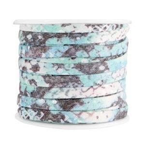 Plat koord snake turquoise 5mm