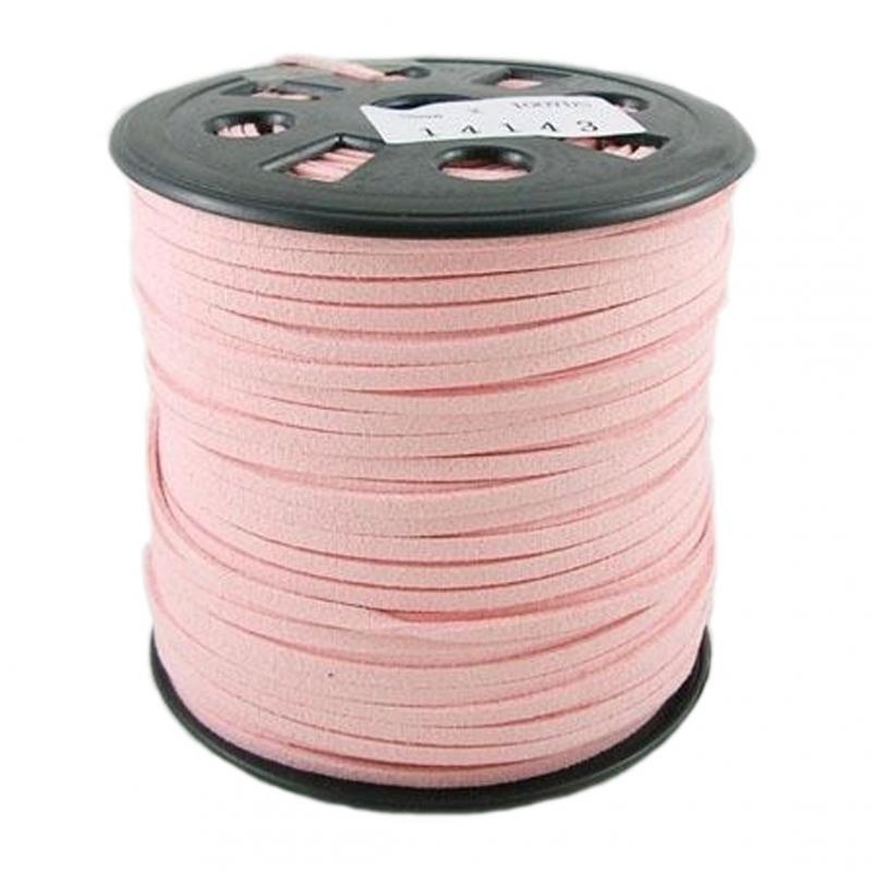 Suede kabel helle rosa