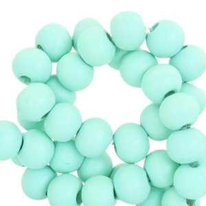Houten kraal turquoise green 6mm