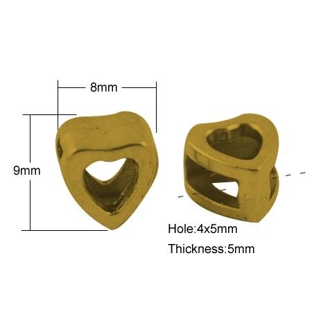 Slider kraal hart goud (bulk)