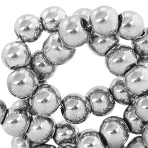 Glaskralen silver metallic 6mm