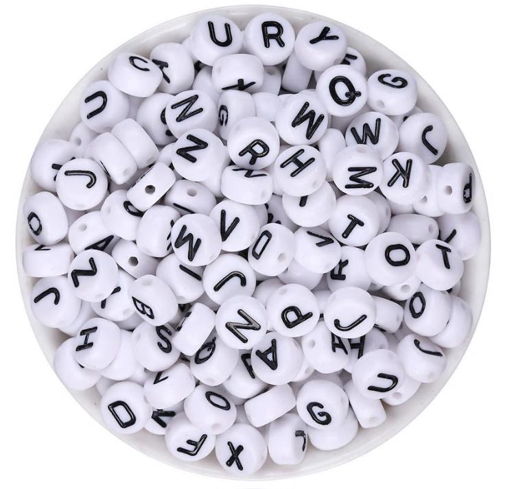 Acryl kralen alfabet 7mm