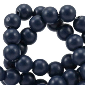 Glasperlen half mat dark navy blue 6mm