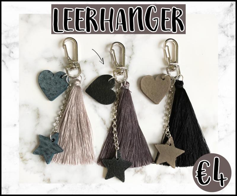 Leerhanger DIY pakket zwart/grijsbruin