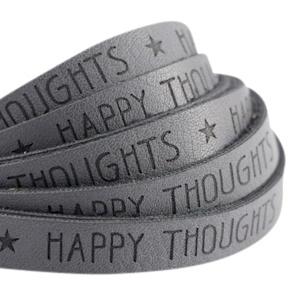 Plat imitatieleer cool grey 'happy thoughts'