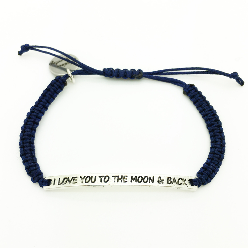 Armbandje ''i love you to the moon & back'' - dark blue & zilver