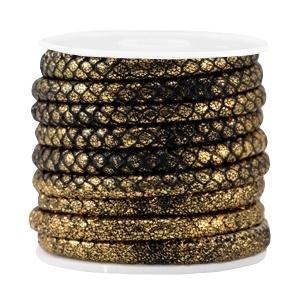 Gestikt imi.leer reptile black metallic gold 6x4mm