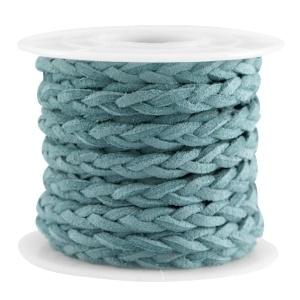 Braided imitation suede teal blue
