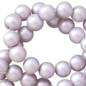 Glasperlen silber grey pearl shine 6mm